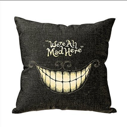 Mad Linen - Akery We Are All Mad Here Cotton Linen Throw Pillow Cases Cushion Covers, 18