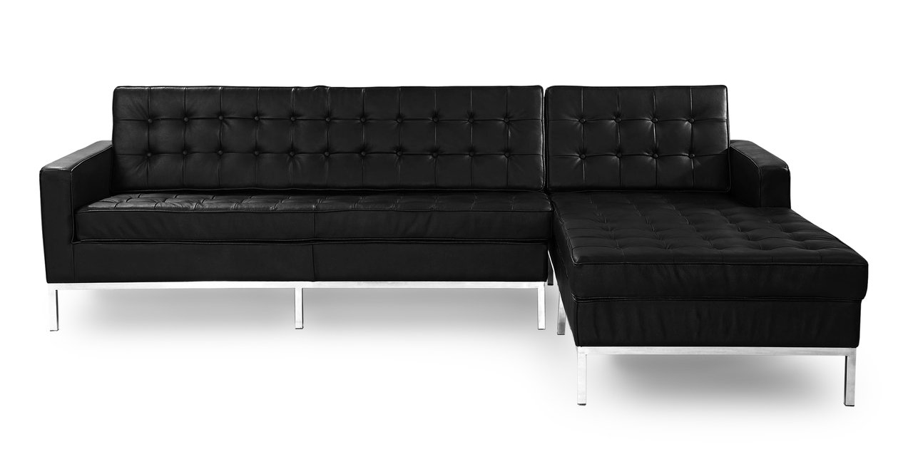 Kardiel Florence Knoll Style Right Sectional Sofa, Black Genuine Leather