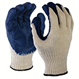 Azusa Safety L22110B 10 gauge Poly/Cotton Safety Gloves, Textured Blue Latex Coated, White/Blue, Large (Pack of 120 Pairs)