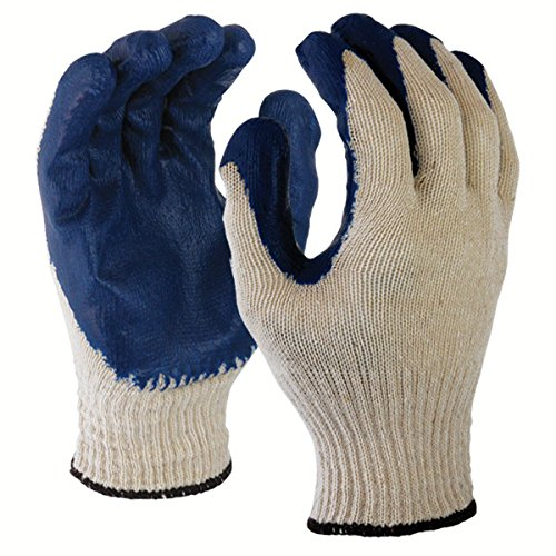 Azusa Safety L22110B 10 gauge Poly/Cotton Safety Gloves, Textured Blue Latex Coated, White/Blue, Large (Pack of 120 Pairs) by Azusa Safety