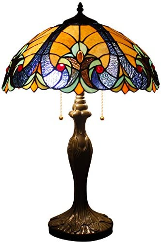 Tiffany Style Lamp Stained Glass Table Light W16H24 Inch Beige Blue Liaison Shade S160E WERFACTORY Lamps Parent Friend Lover Living Room Bedroom Study Office Desk Bedside Reading Antique Crafts Gift