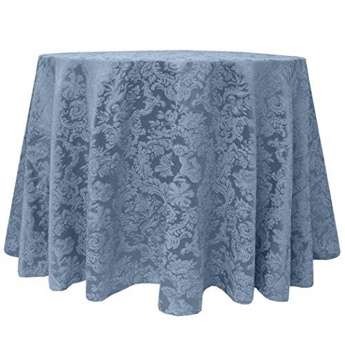 Ultimate Textile Vintage Damask Miranda 60 x 84-Inch Oval Tablecloth Slate Blue