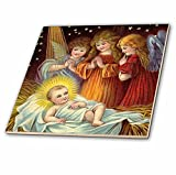 3dRose ct_165421_2 Baby Jesus and Three Young Angels Vintage Artwork-Ceramic Tile, 6-Inch