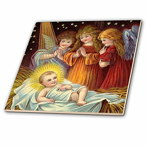 3dRose ct_165421_2 Baby Jesus and Three Young Angels Vintage Artwork-Ceramic Tile, 6-Inch by 3dRose