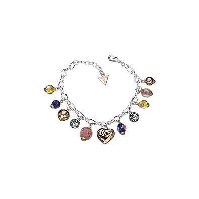 ce284b3aa5f5 Guess - UBB11119 - Bracelet Femme - Métal Argent - Breloques - Verre coloré  - 18