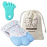 Prohapi Silicone Baby Teething Mitten, Self Soothing Teether & Teething Pain Relief Toy Glove Plus Hygienic Travel Storage Pouch - Natural Remedy for Infants & Toddlers 3-12 Months(Pastel Blue)