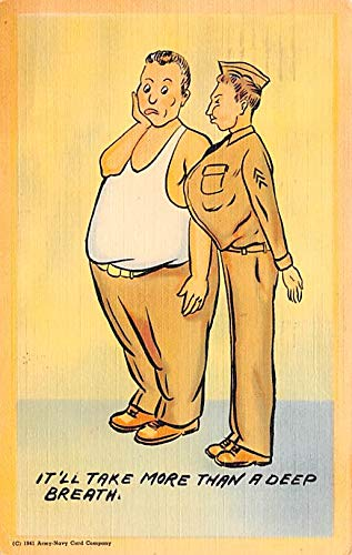 Military Comic Postcard, Old Vintage Antique Post Card Army Navy Card Company 1942