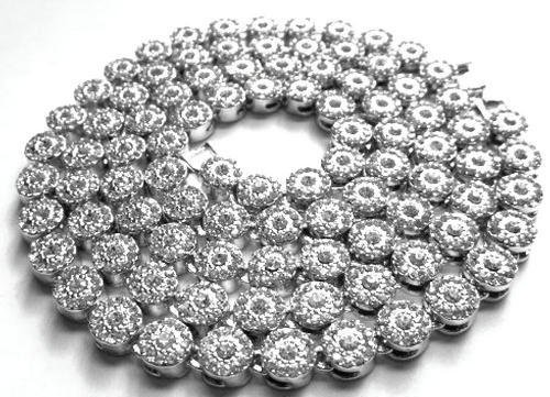 Hip Hop Silver CZ Simulated Diamond Cluster Iced Necklace - Chain Cluster