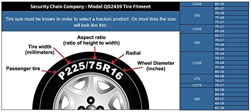 Security Chain Company QG2439 Quik Grip Truck Mud Service Tire Traction Chain - Set of 2
