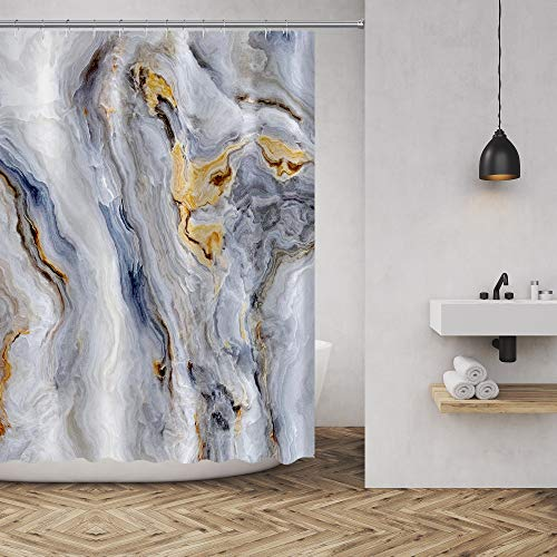 Marble Texture Shower Curtain Nature Stone Color Background Pattern Luxurious Graphic Print Polyester Fabric Bathroom Decor Sets with Hooks 72 x72 Inches, Gold Grey White (Shower And Blue Gold Curtain)