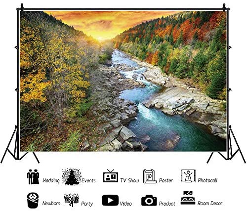 DORCEV 20x10ft Backdrop for Autumn Sunrise Snow Mountain Hilltop Photography Backdrop Autumn Wild Forest Mountain Natural Landscape Outdoor Camping Theme Party Adult Kids Hiking Photo Studio Props