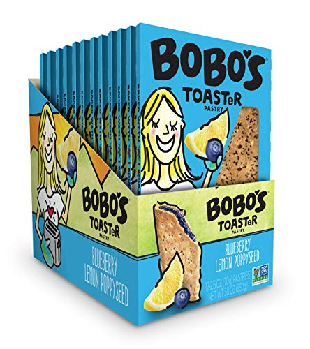Bobo's TOASTeR Pastry (Blueberry Lemon Poppyseed, 12 Pack of 2.5 Oz. Toaster Pastries) Gluten Free Whole Grain Pastry - Great Tasting Vegan On-The-Go Breakfast or Snack, Made in the -