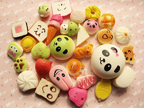 Ateamart Random 20 pcs Medium Mini Soft Jumbo Squishies, Cute Slow Rising Panda Cake Bread Donuts Buns Ice Cream Puppy Strawberry Charm Toy Gift for Cell Phone Straps Keychains without Pungent Smell