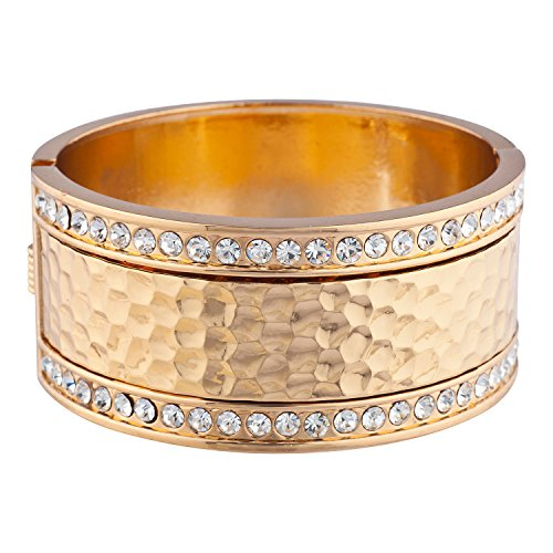 Lux Accessories Gold Tone Faux Pave Rhinestone Hammered Hinged Cuff Bracelet