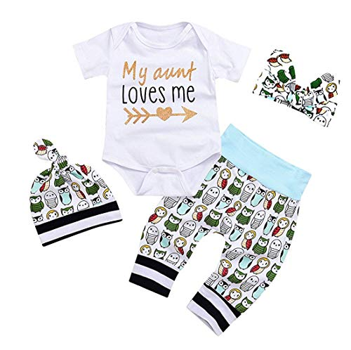 YOUNGER TREE Newborn Baby Girls Owls Outfit Set 4pcs Unisex Baby Clothes My Aunt Loves Me (0-3 Months, White2)
