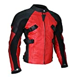 Men's Deadpool Wade Wilson Motorcycle Ryan Reynolds Biker Red Leather Jacket (XX-Small, Non-Armored)