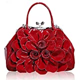 Kaxidy Fashion Lady Women Girl Patent Leather Tote Shoulder Bag Handbag Shopper Hobo Bag Messenger Flowers Handbags (Wine-red)