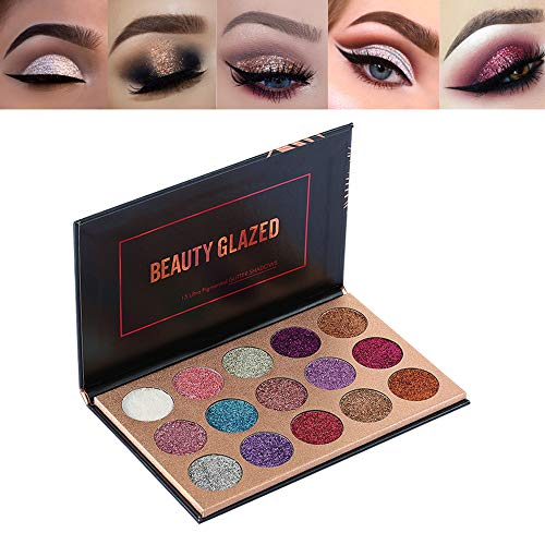 New Beauty Glazed Long Lasting 15 Colors Glitter Eye shadow Palette Shimmer Ultra Pigmented Makeup Eye Shadow Powder Professional Cosmetic