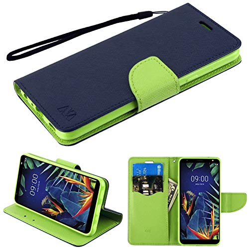 Insten Liner MyJacket Stand Folio Flip Leather [Card Slot] Wallet Flap Pouch Case Cover Compatible with LG K40, Blue/Green