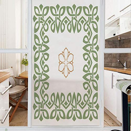 Decorative Window Film,No Glue Frosted Privacy Film,Stained Glass Door Film,Nostalgic Celtic Art Inspired Square Shape Frame Print with A Flower in the Centre,for Home & Office,23.6In. by 59In Green B