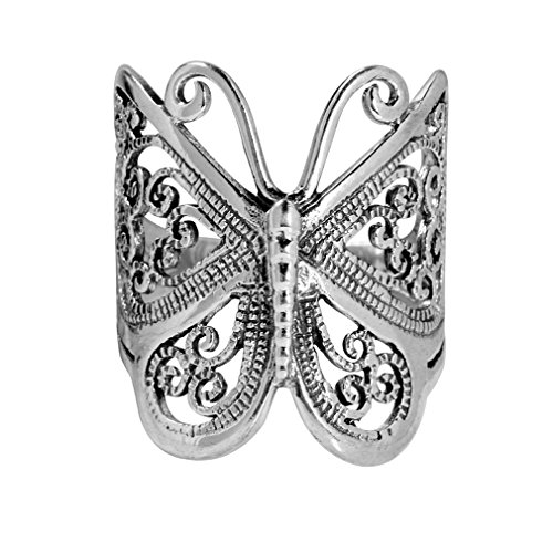 925 Sterling Silver BUTTERFLY FILIGREE Ring Size 8