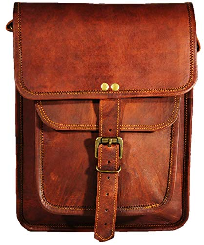 Satchel and fable Leather I pad Messenger Satchel Bag Tablet Cross Body Shoulder Bag 11 Inch