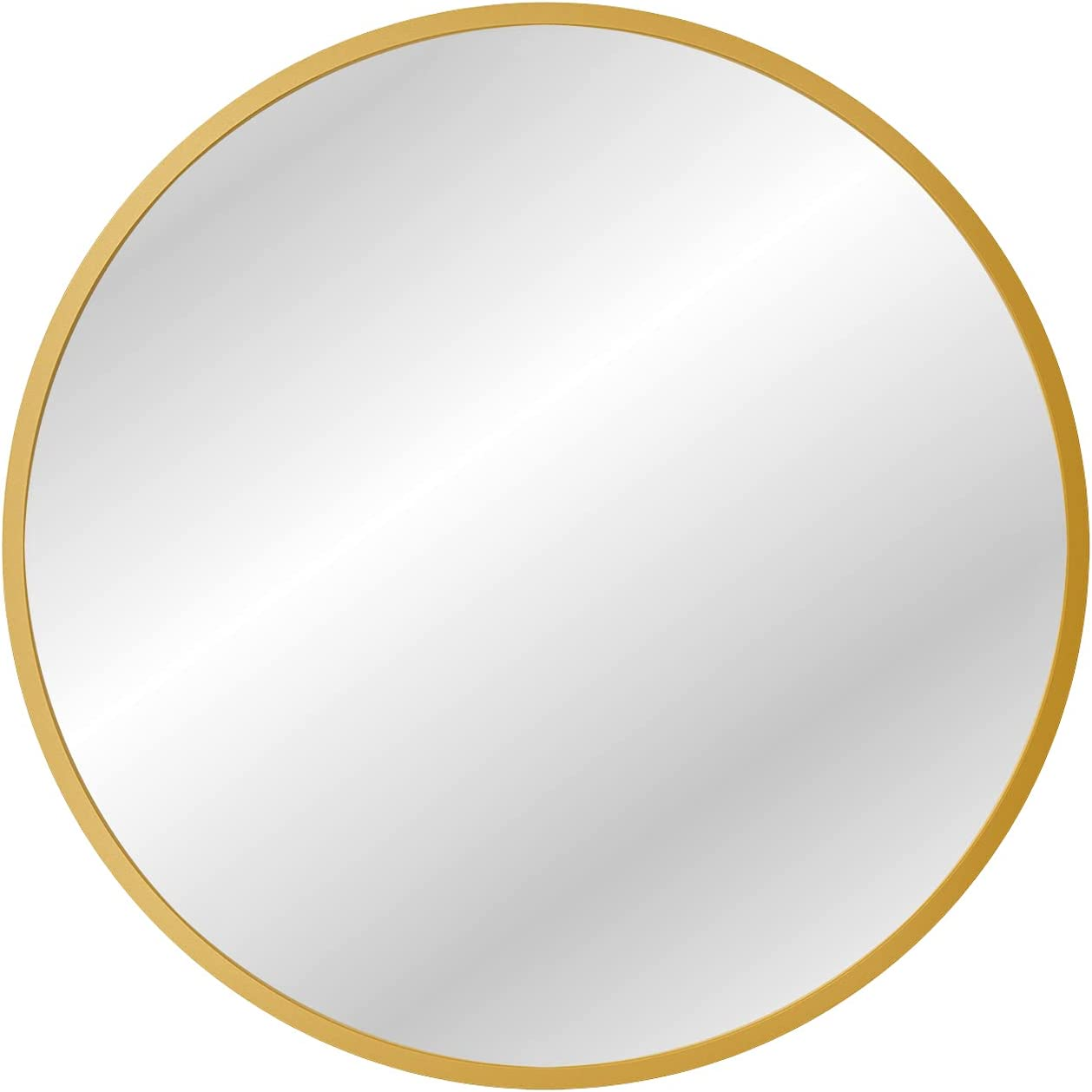 X Home 36 Inch Gold Round Mirror, Round Brass Mirror Metal Frame, Brushed Gold Circle Mirrors for Wall Decor, Bathroom, Entryway, Vanity, and More, Antique & Vintage Style