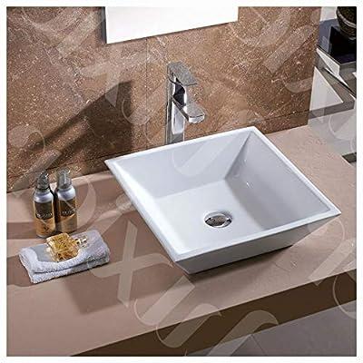 HEATAPPLY Contemporary White Ceramic Porcelain Vessel Bathroom Vanity Sink - 16 x 16 - inch, Contemporary White Ceramic Porcelain Vessel Bathroom Vanity Sink - 16 x 16-inch