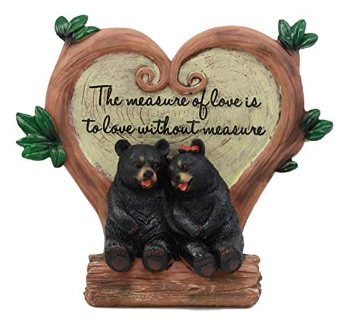 Ebros Black Bear Couple Under Heart Shaped Willow Tree Figurine Love Without Measure 6.75