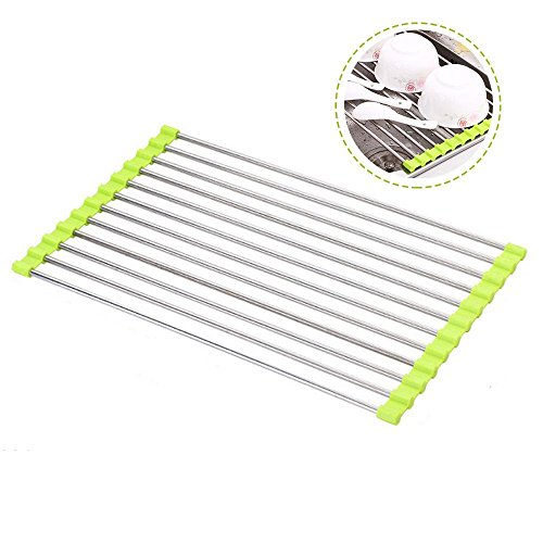 Pawaca Over Sink Drying Rack Roll Up Dish Drying Rack, Veget