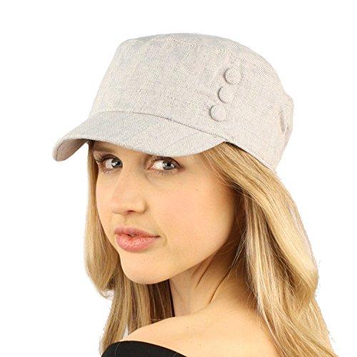 Summer Cute Cotton Linen Striped Textured 3 Button Cadet Castro GI Cap Hat