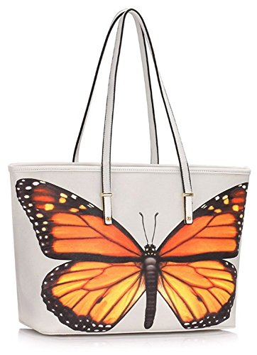 Butterfly Print Size Shopper Over Ladies LeahWard 460 Women's Handbags Style 462 Print Bag Nice Shoulder Celeb Butterfly Cream White Bags Dragonfly A0xT7nx