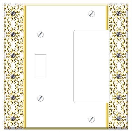 1-Toggle 1-Rocker/GFCI Combination Wall Plate Cover - Gold Gilt Frame Detailed Diamond Gem Quartz