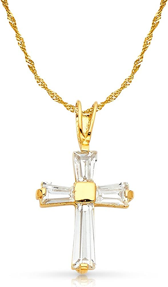 14K White Gold Cubic Zirconia CZ Cross Charm Pendant with 1.2mm Singapore Chain Necklace