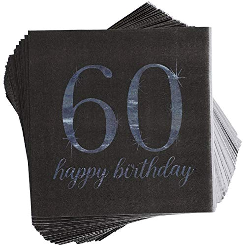 Blue Panda 50-Pack Happy 60th Birthday Paper Cocktail