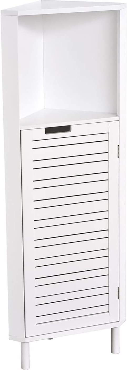 Bathroom Corner Cabinet Miami- 2 Shelves - 1 Louver Door White Door