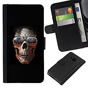 All Phone Most Case / Oferta Especial Cáscara Funda de cuero Monedero Cubierta de proteccion Caso / Wallet Case for HTC One M7 // Rock Skull Black Metal Shades Cool Hell