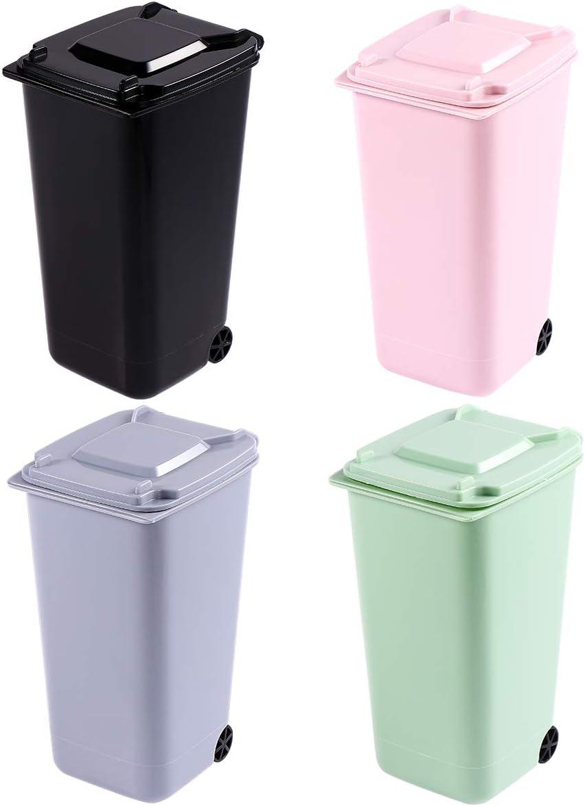 TOYMYTOY Office Trash Can, Desktop Mini Trash Bin, Garbage Bin Set Pencil Cup Holder with Lips & Wheels(4PCS)