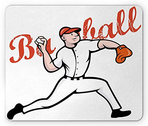 (Sports Mouse Pad, Cartoon Illustration of Baseball Player Pitching Throwing Vintage Letters, Standard Size Rectangle Non-Slip Rubber Mousepad, Red Black Orange,9.8 x 11.8 x 0.118 Inches)