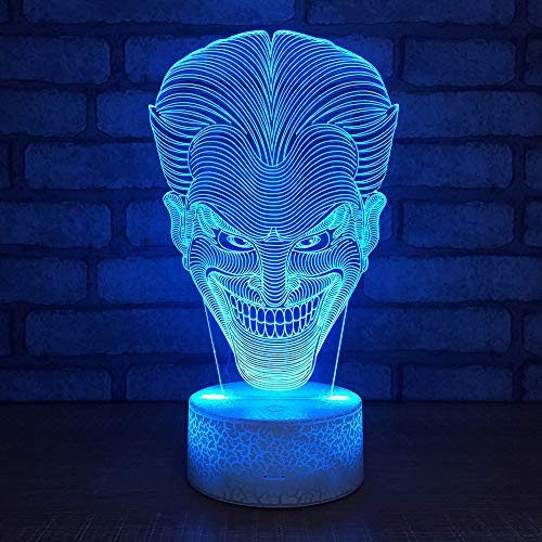 1 Pack, Cartoon Stitch 3D Lamp Bedroom Table Night Light Acrylic Panel USB Cable 7 Colors Change Touch Base Lamp Kids Gift,Horror Clown, Christmas Gift, Halloween