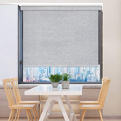 GoDear Design Modern Free Stop Cordless Roller Shade with Cassette Valance, 35″ x 72″, Light Filtering, Shimmering, Diamond Silver