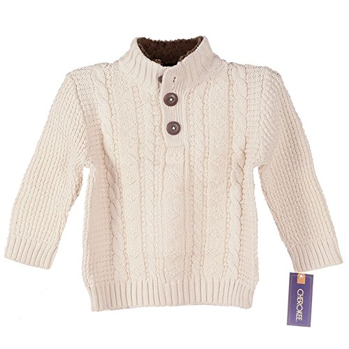 Cherokee Toddler Boy Cable Knit Sweater, Snowfall White/Brown (18 Months)
