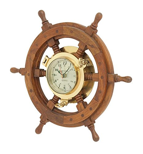 "Benzara Deco 79 01193 Wood Ships wheel Clock 20"" D"