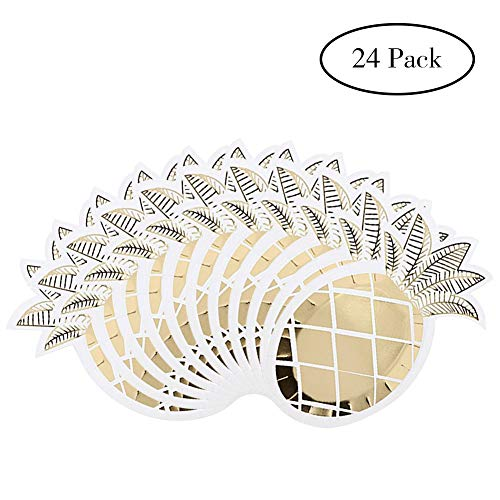Keriqi 24 Pcs Pineapple Plates, Gold Foil Paper Plates Disposable Tableware Set for Wedding Hawaiian Party Baby Birthday Party Luau BBQ Party - Set Shaped Plate