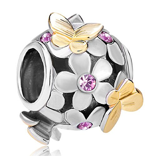 Flying Butterfly Flower Golden 925 Sterling Silver Charm Crystal Bead Fits European Charms (Alexandrite June Birthstone)