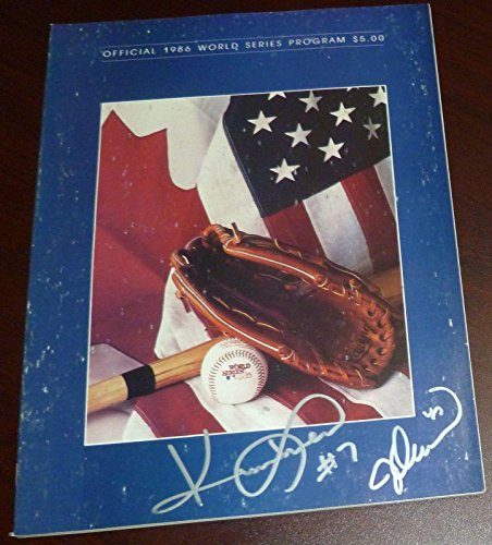 Jesse Orosco & Kevin Mitchell Signed Mets 1986 World Series Game Program Auto'd - Autographed MLB Magazines