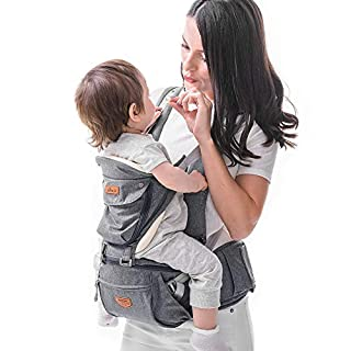 SUNVENO Baby Hipseat Ergonomic Baby Carrier Soft Cotton 6 in 1 Safety Infant Newborn Hip Seat for Outdoor Travel 6-36 Months (Gray)
