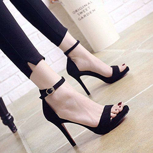 Zapatos Con Dew EU35 Toe Mujeres Correa De Heeled Sandals Solo SHOESHAOGE Finas Ranurada Eu34 Mujer Impermeable High wRfqxY7S