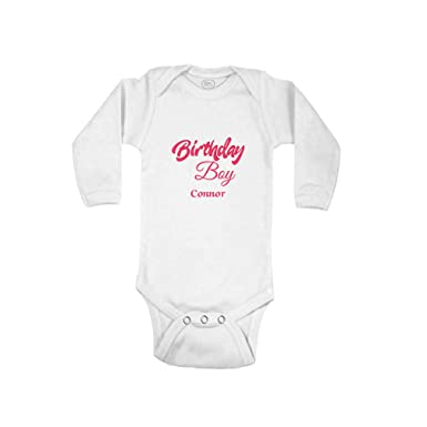 5bbc0d04c88004 Image Unavailable. Image not available for. Color: Personalized Custom Hot  Pink Birthday Boy Cotton Long Sleeve Envelope Neck Boys-Girls Baby Bodysuit