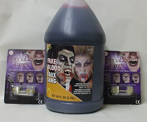 Vampire Bundle ~ 1/2 Gallon (64 FL OZ) Fake Blood & 2 Pair of Special FX (Special Fx Fangs)